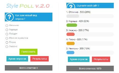 Новый цветной вид опроса v.2.0 uCoz